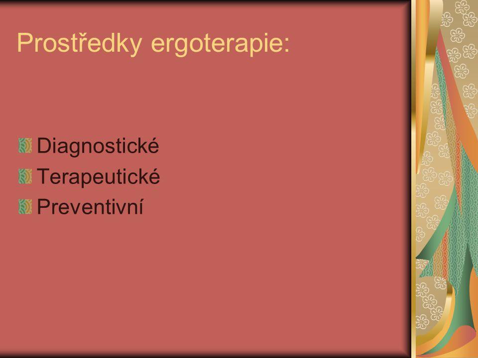 Prostředky ergoterapie: