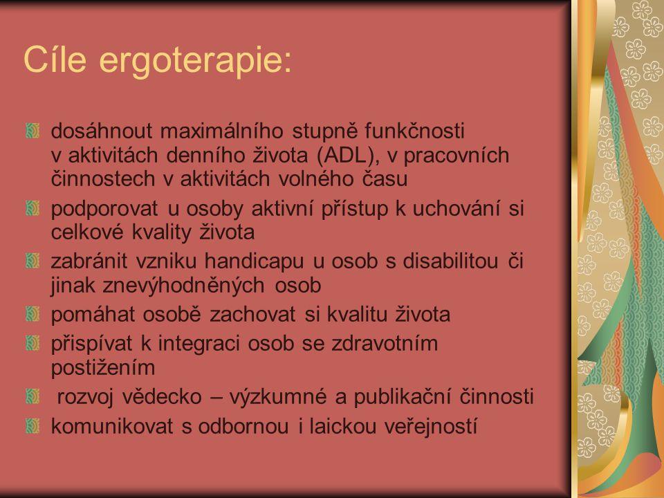 Cíle ergoterapie: dosáhnout maximálního stupně funkčnosti v aktivitách denního života (ADL), v pracovních činnostech v aktivitách volného času.