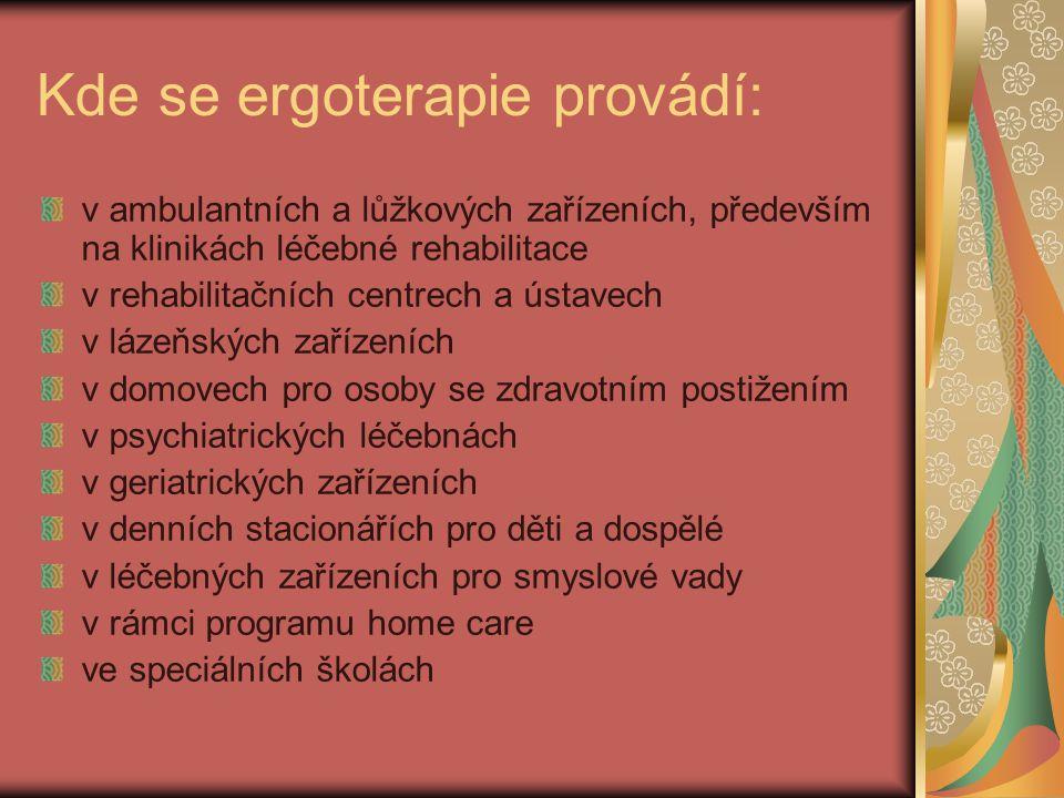 Kde se ergoterapie provádí: