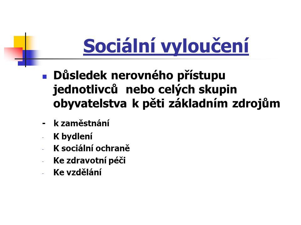 Sociální vyloučení Důsledek nerovného přístupu jednotlivců nebo celých skupin obyvatelstva k pěti základním zdrojům.