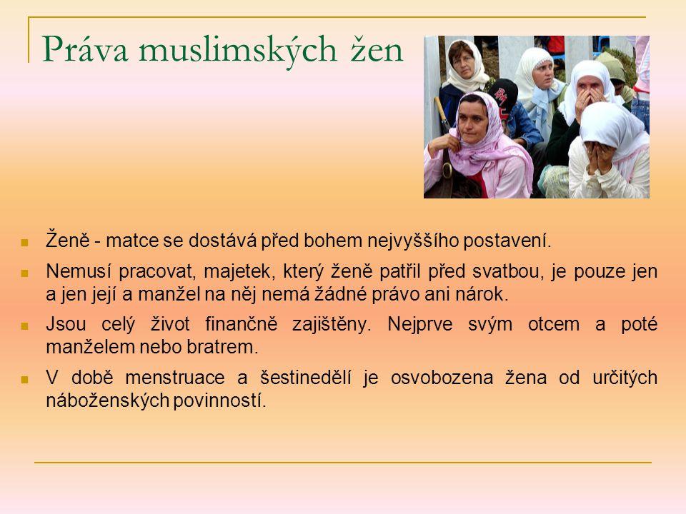 Práva muslimských žen Ženě - matce se dostává před bohem nejvyššího postavení.