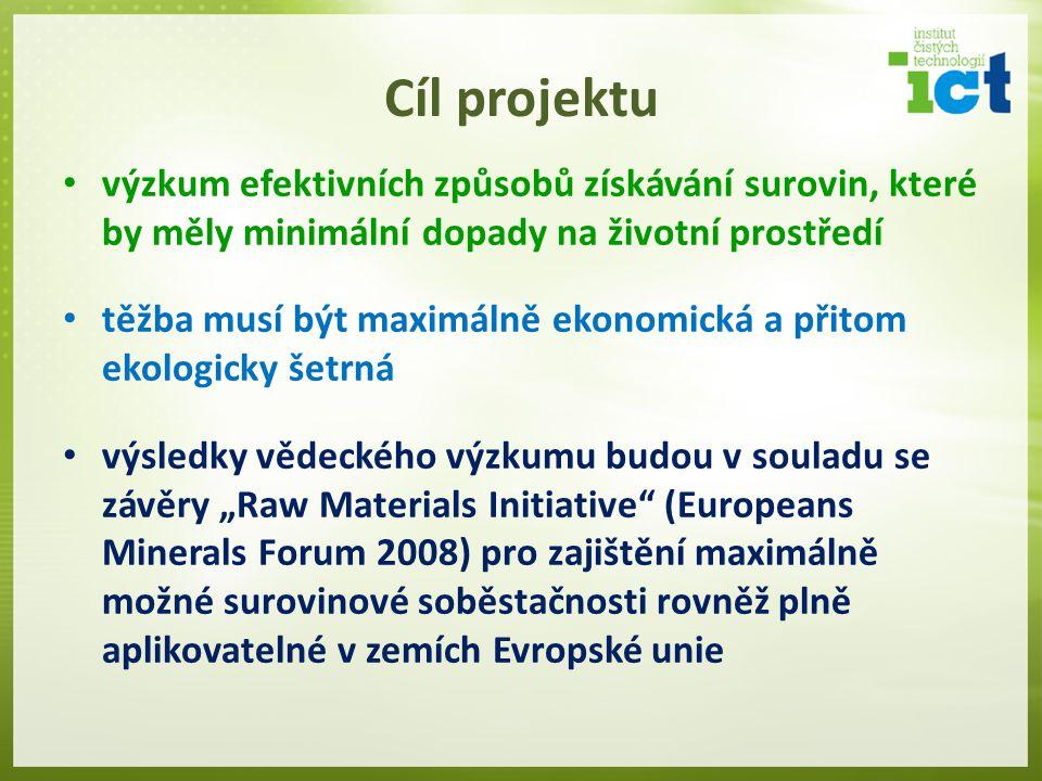 Cíl projektu výzkum efektivních způsobů získávání surovin, které by měly minimální dopady na životní prostředí.
