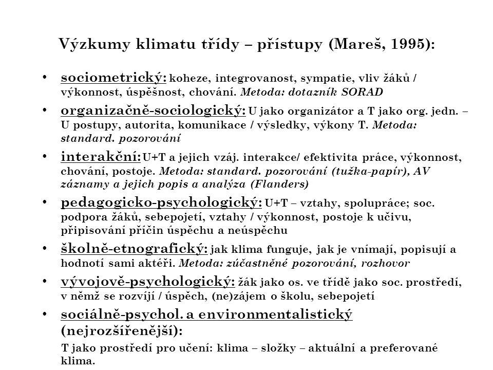 Výzkumy klimatu třídy – přístupy (Mareš, 1995):