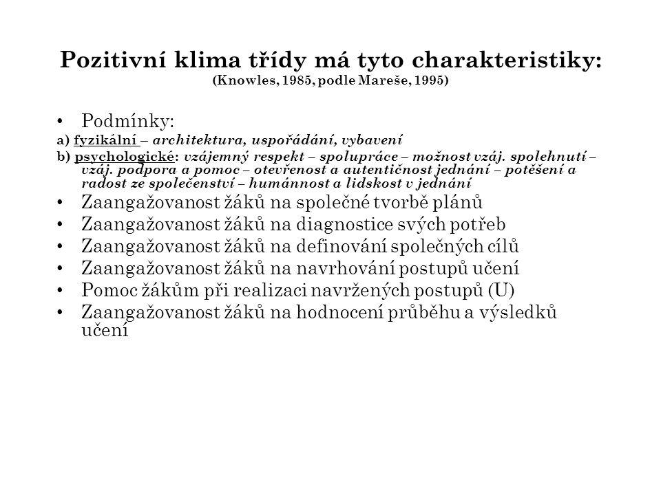 Pozitivní klima třídy má tyto charakteristiky: (Knowles, 1985, podle Mareše, 1995)