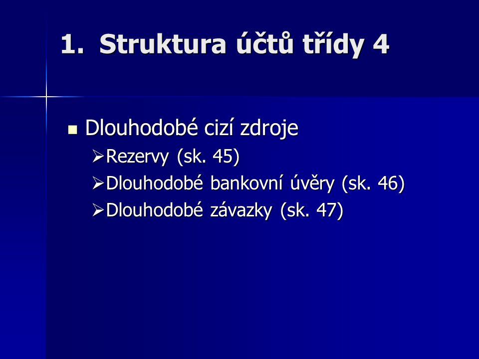 Struktura účtů třídy 4 Dlouhodobé cizí zdroje Rezervy (sk. 45)