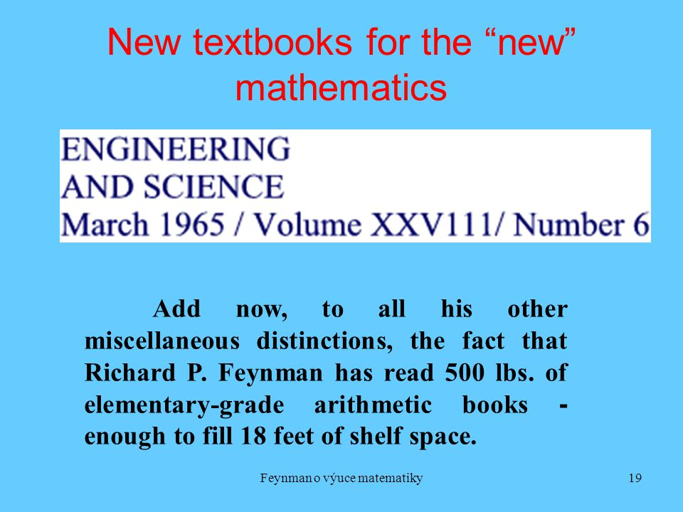 New textbooks for the new mathematics