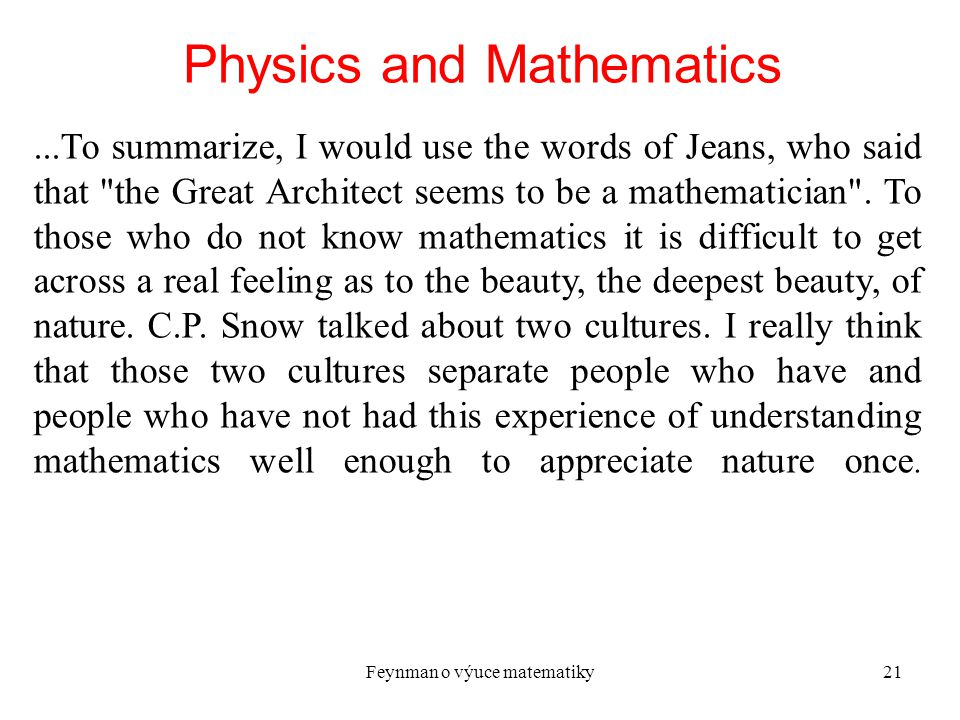 Physics and Mathematics