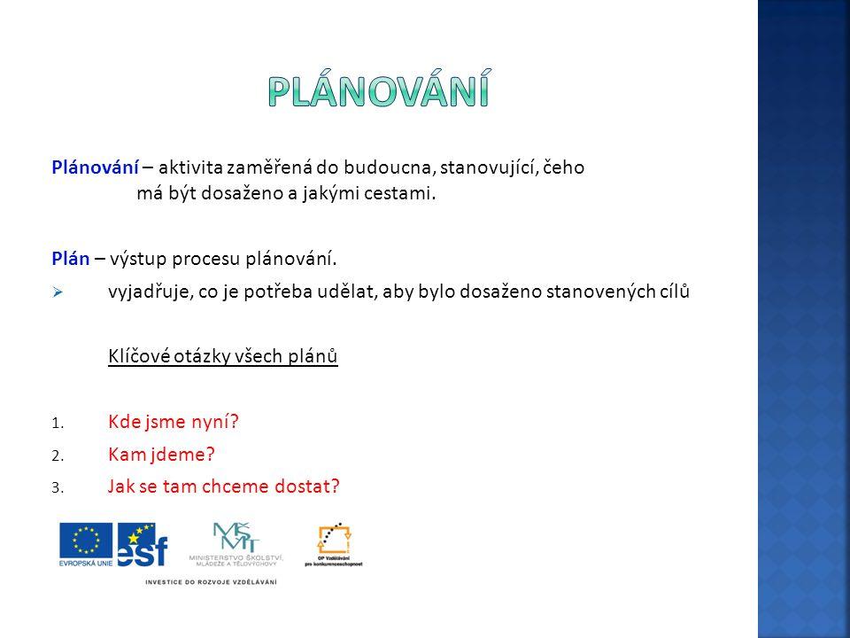 Plánování Plánování – aktivita zaměřená do budoucna, stanovující, čeho má být dosaženo a jakými cestami.