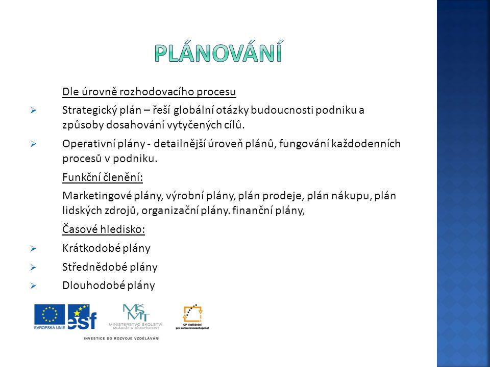Plánování Dle úrovně rozhodovacího procesu