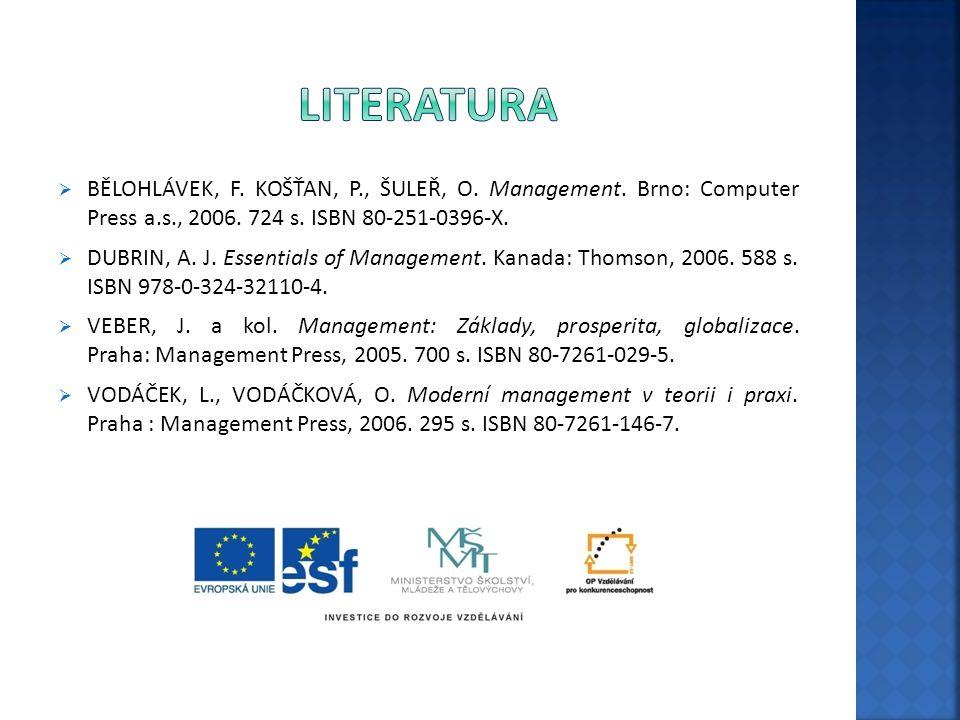 literatura BĚLOHLÁVEK, F. KOŠŤAN, P., ŠULEŘ, O. Management. Brno: Computer Press a.s., 2006. 724 s. ISBN 80-251-0396-X.