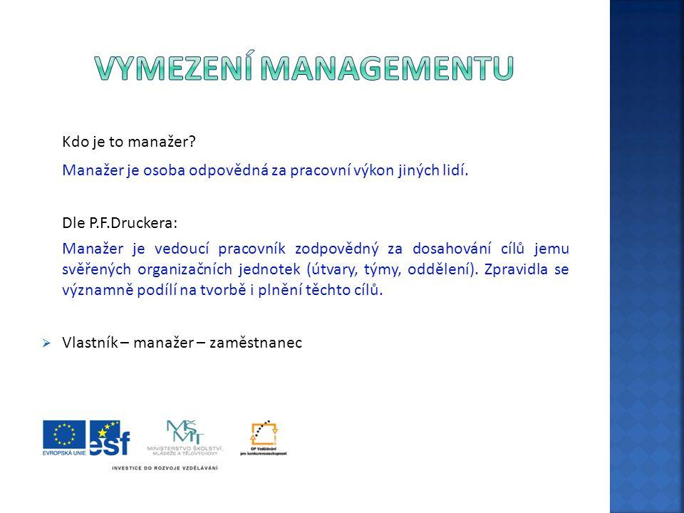 Vymezení managementu Kdo je to manažer