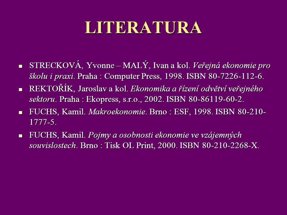 LITERATURA STRECKOVÁ, Yvonne – MALÝ, Ivan a kol. Veřejná ekonomie pro školu i praxi. Praha : Computer Press, 1998. ISBN 80-7226-112-6.