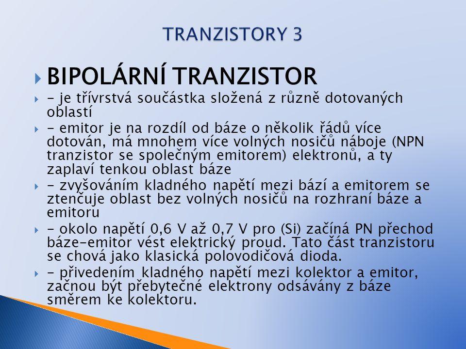 BIPOLÁRNÍ TRANZISTOR TRANZISTORY 3