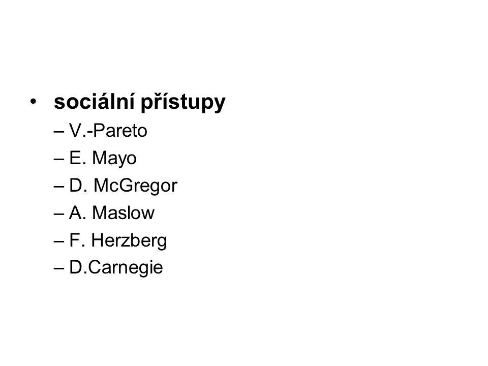 sociální přístupy V.-Pareto E. Mayo D. McGregor A. Maslow F. Herzberg