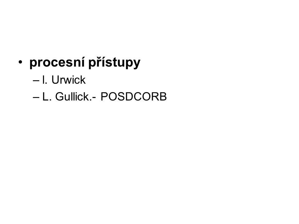 procesní přístupy l. Urwick L. Gullick.- POSDCORB