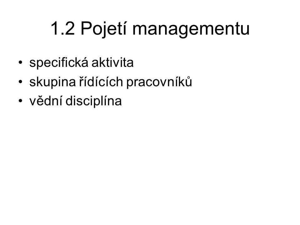 1.2 Pojetí managementu specifická aktivita skupina řídících pracovníků