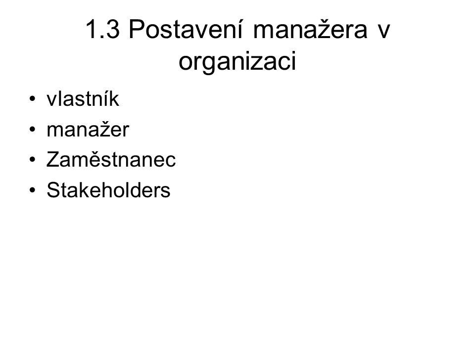 1.3 Postavení manažera v organizaci
