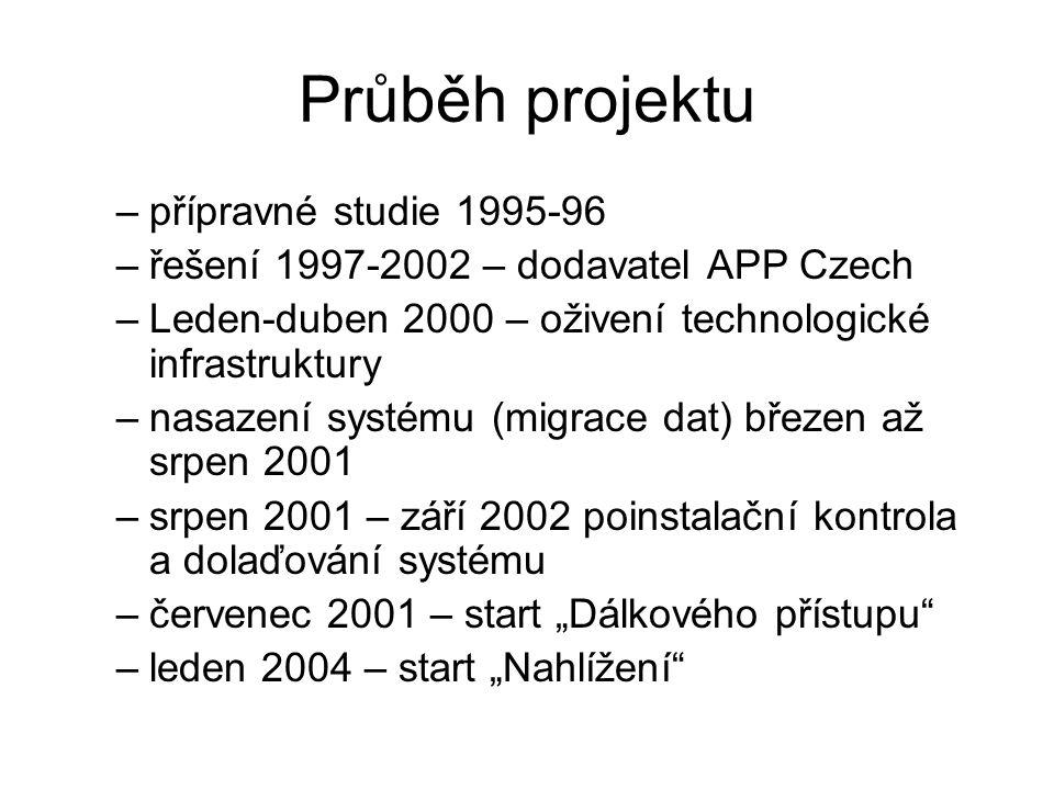 Průběh projektu přípravné studie 1995-96