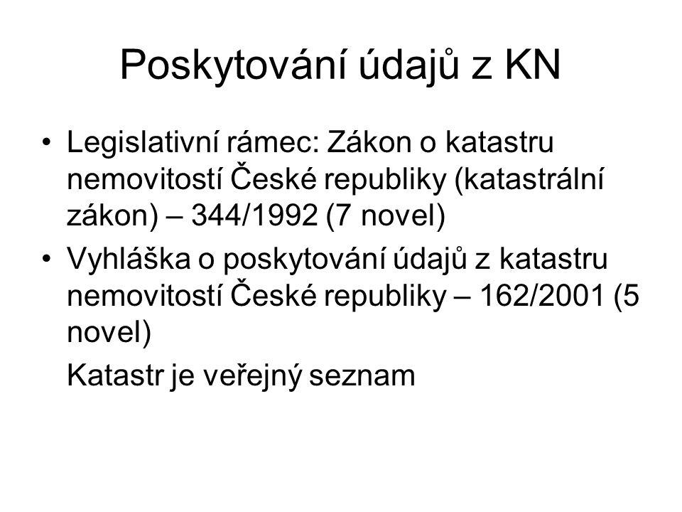 Poskytování údajů z KN Legislativní rámec: Zákon o katastru nemovitostí České republiky (katastrální zákon) – 344/1992 (7 novel)