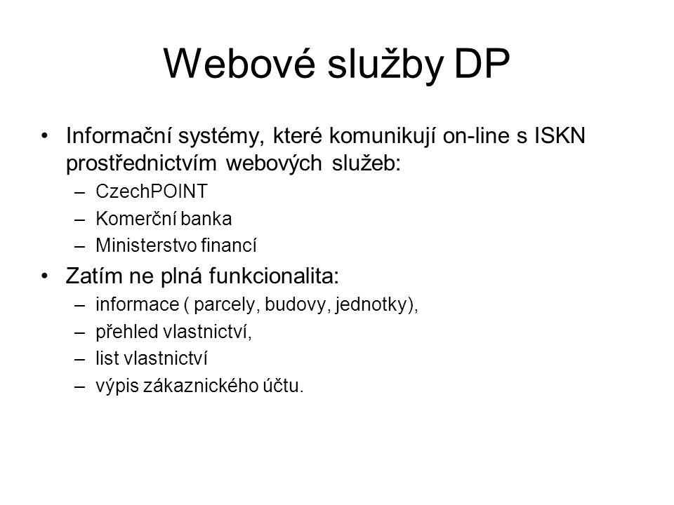 Webové služby DP Informační systémy, které komunikují on-line s ISKN prostřednictvím webových služeb: