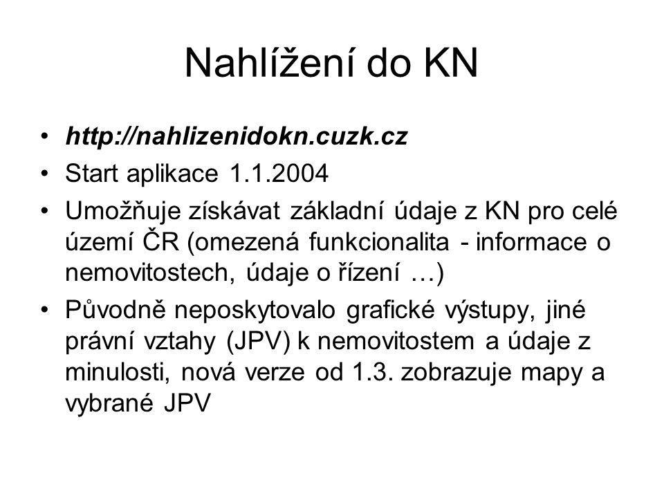 Nahlížení do KN http://nahlizenidokn.cuzk.cz Start aplikace 1.1.2004