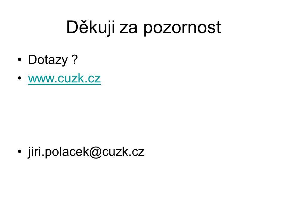 Děkuji za pozornost Dotazy www.cuzk.cz jiri.polacek@cuzk.cz