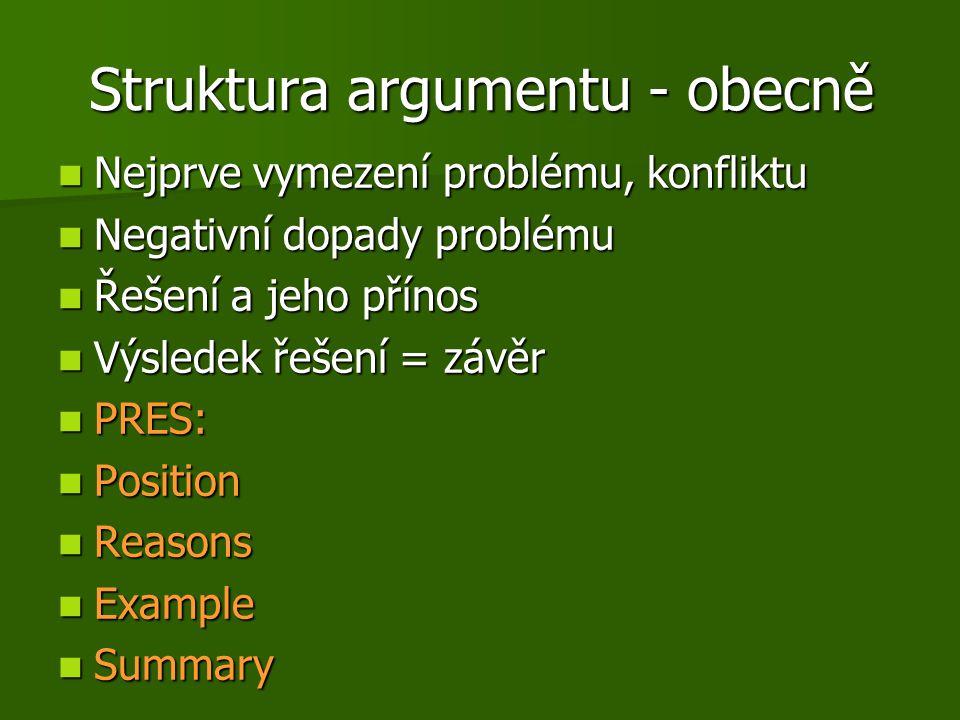 Struktura argumentu - obecně
