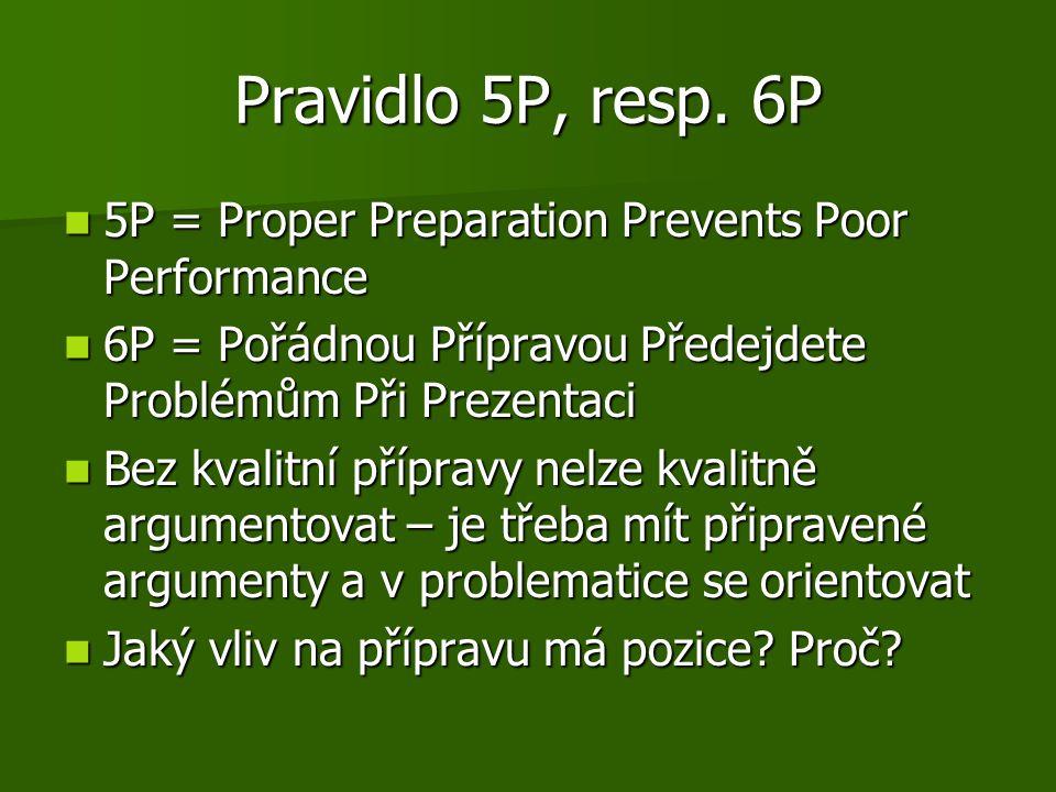 Pravidlo 5P, resp. 6P 5P = Proper Preparation Prevents Poor Performance. 6P = Pořádnou Přípravou Předejdete Problémům Při Prezentaci.
