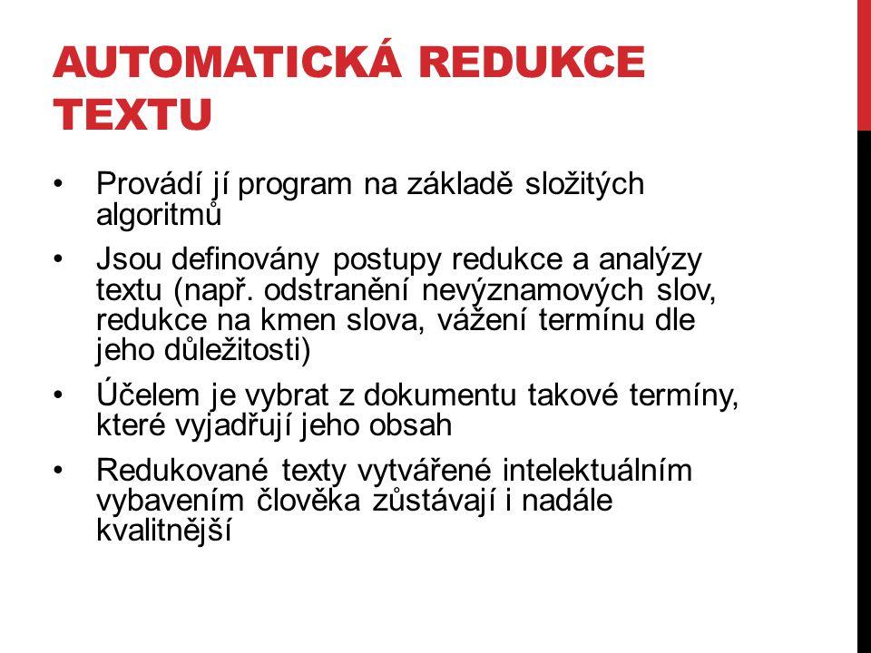 automatická redukce textu