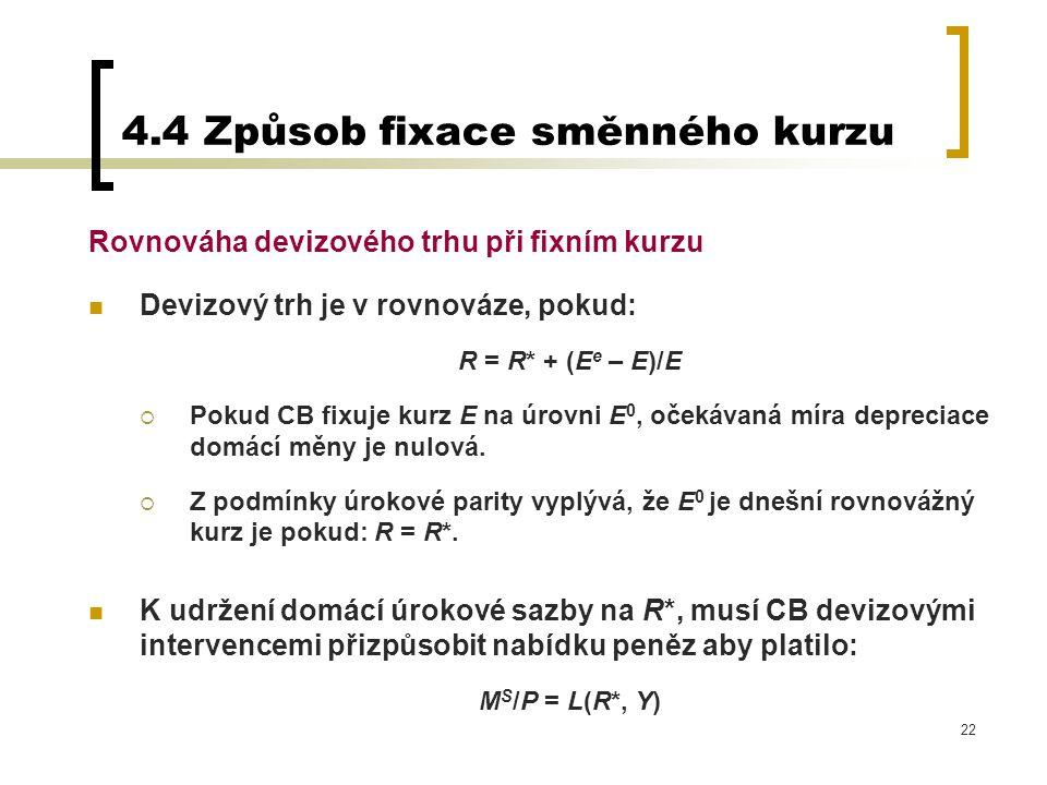 4.4 Způsob fixace směnného kurzu