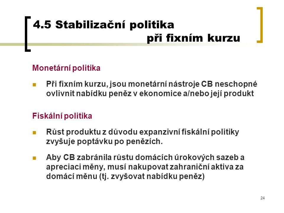 4.5 Stabilizační politika při fixním kurzu