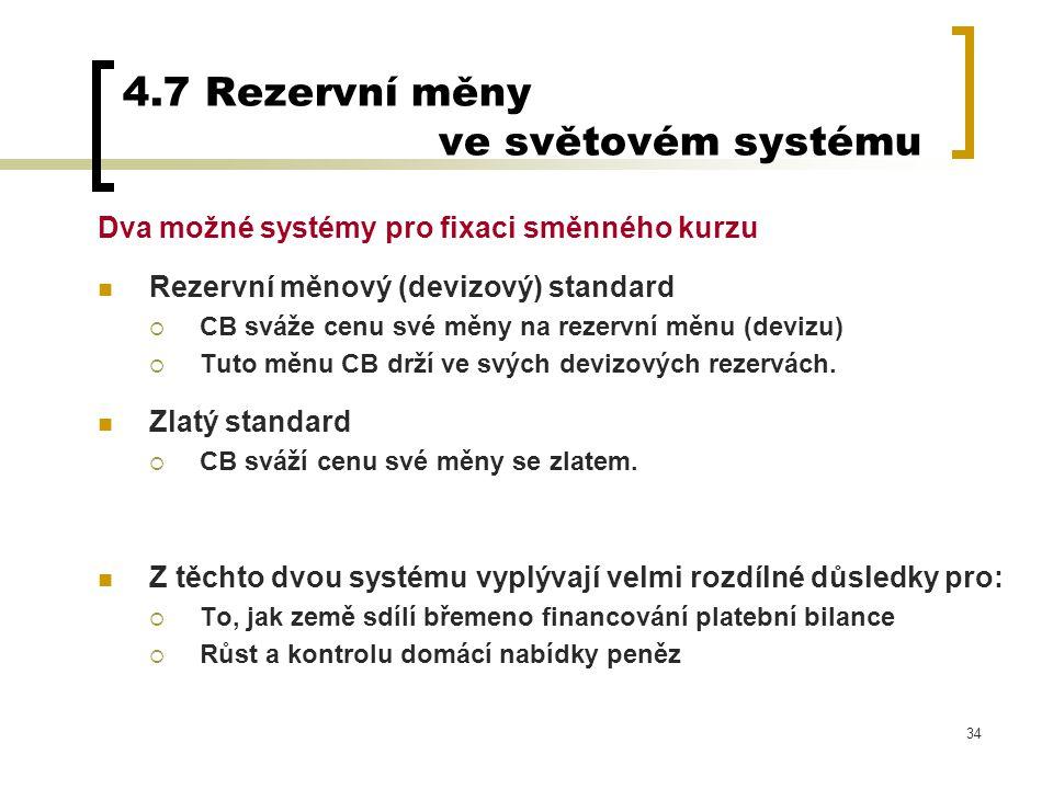 4.7 Rezervní měny ve světovém systému
