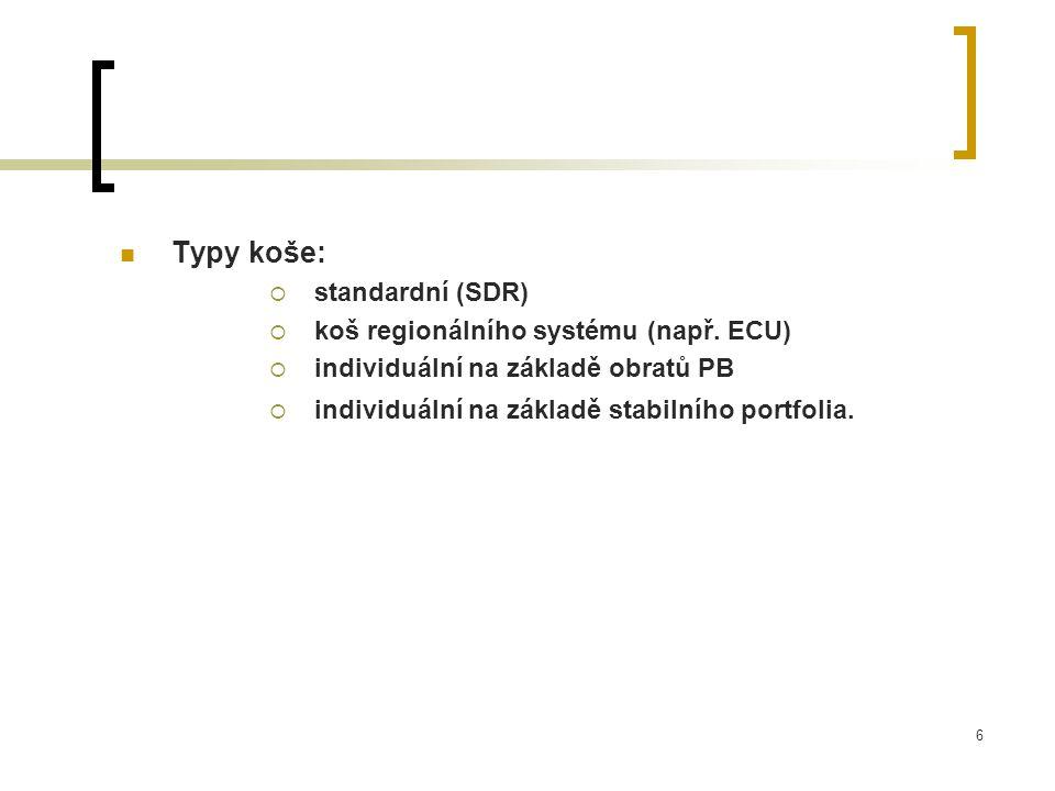 Typy koše: standardní (SDR) koš regionálního systému (např. ECU)