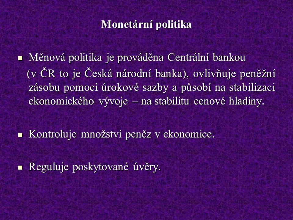 Monetární politika Měnová politika je prováděna Centrální bankou.