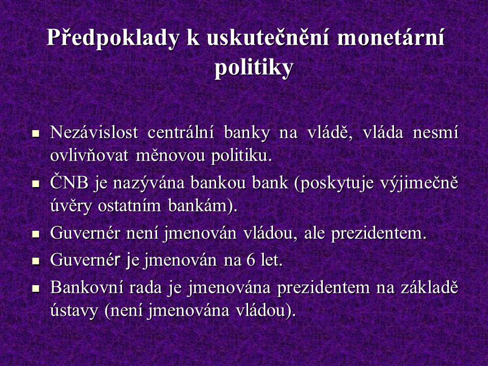 Předpoklady k uskutečnění monetární politiky