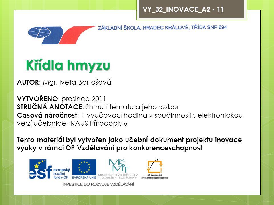 Křídla hmyzu VY_32_INOVACE_A2 - 11 AUTOR: Mgr. Iveta Bartošová