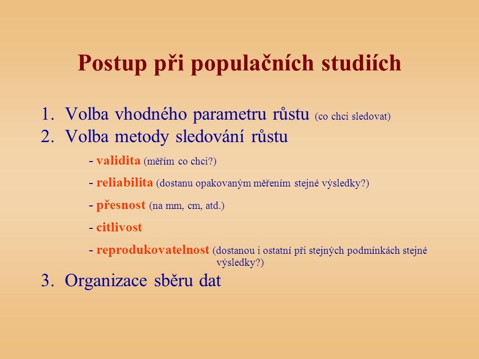 Postup při populačních studiích