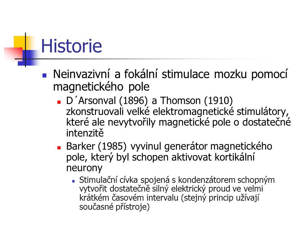 Historie Neinvazivní a fokální stimulace mozku pomocí magnetického pole.