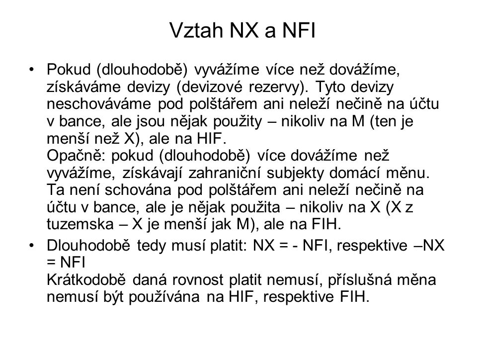 Vztah NX a NFI