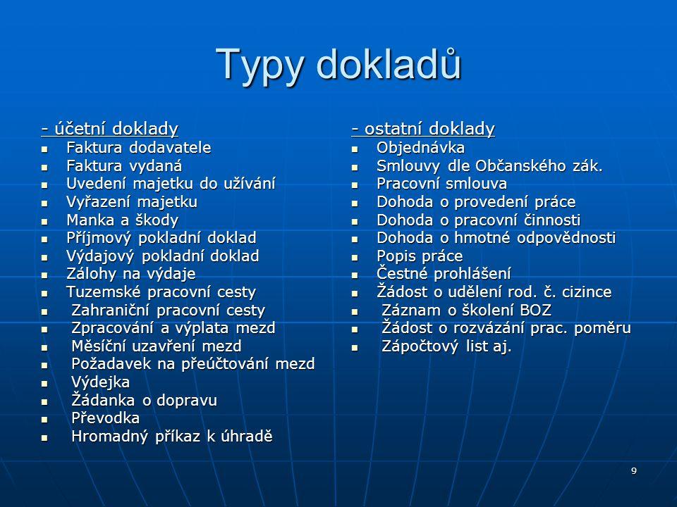 Typy dokladů - účetní doklady - ostatní doklady Faktura dodavatele