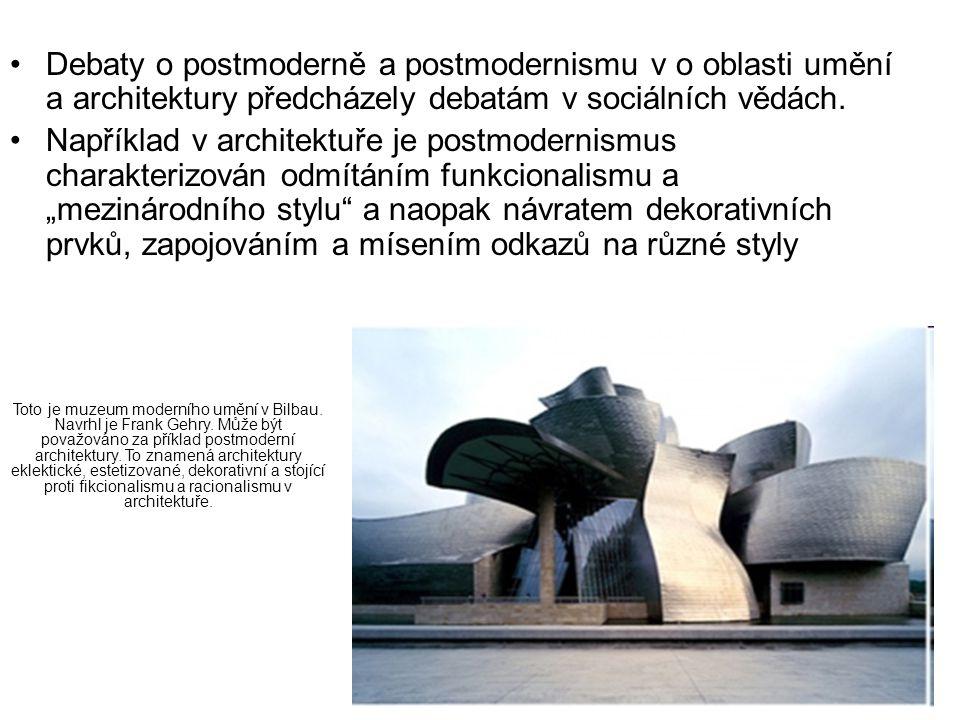 Debaty o postmoderně a postmodernismu v o oblasti umění a architektury předcházely debatám v sociálních vědách.