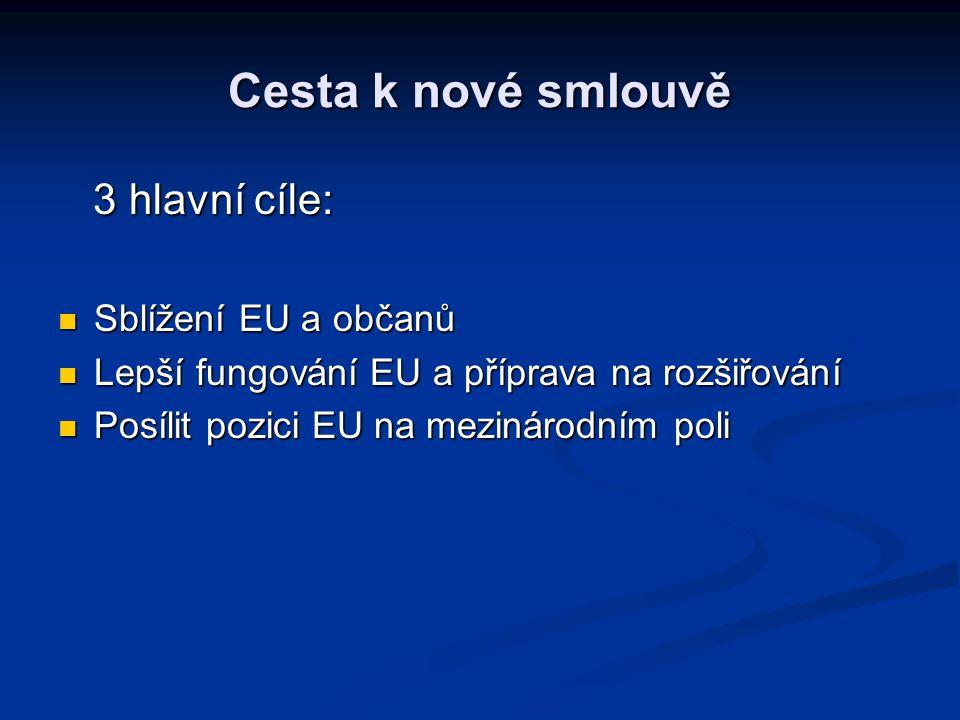 Cesta k nové smlouvě 3 hlavní cíle: Sblížení EU a občanů