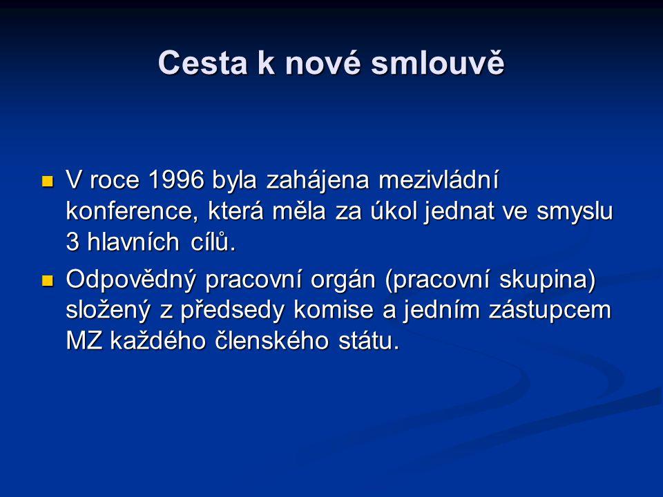 Cesta k nové smlouvě V roce 1996 byla zahájena mezivládní konference, která měla za úkol jednat ve smyslu 3 hlavních cílů.