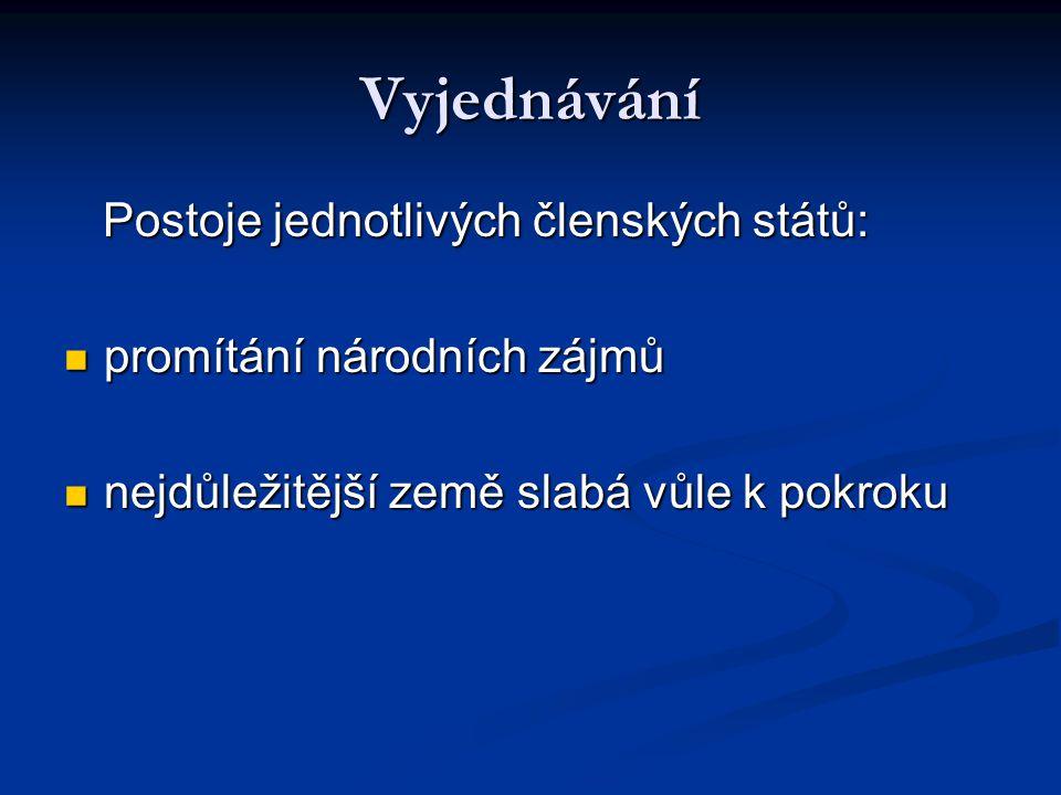 Vyjednávání Postoje jednotlivých členských států: