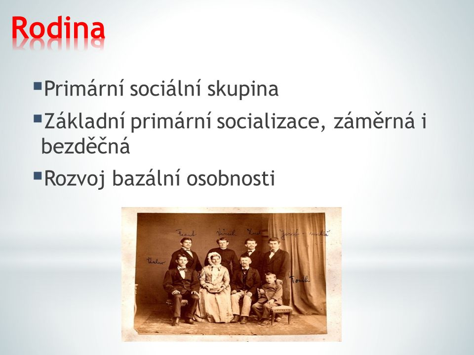 Rodina Primární sociální skupina