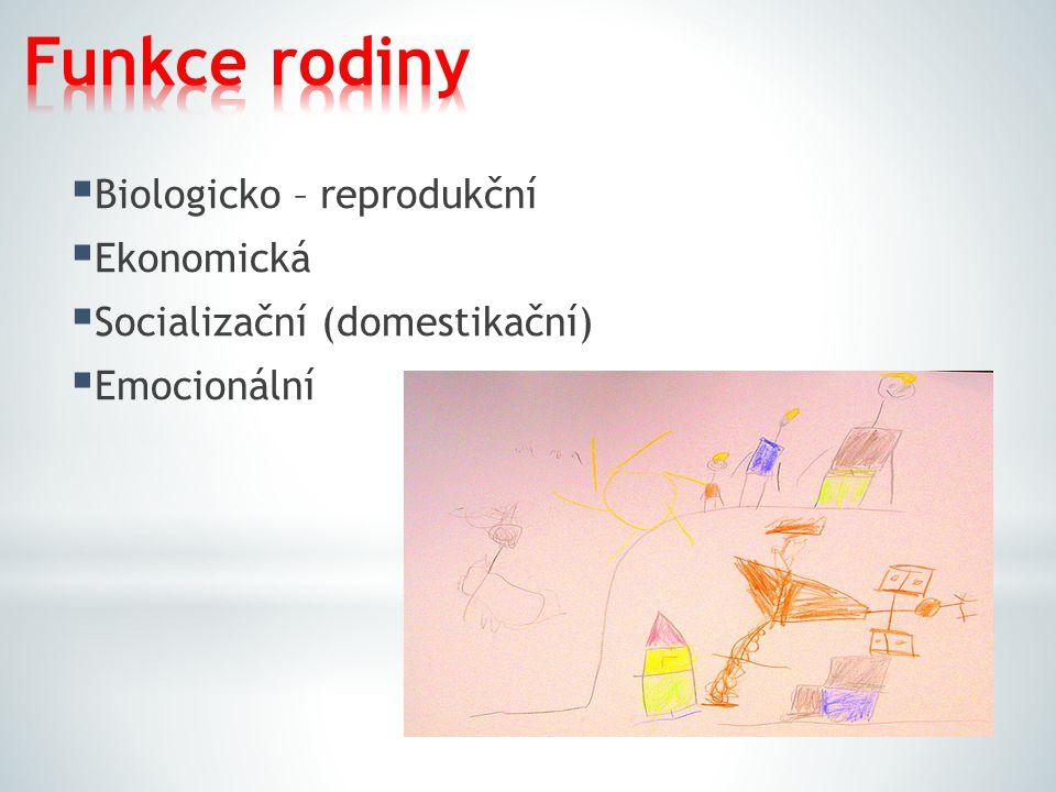 Funkce rodiny Biologicko – reprodukční Ekonomická