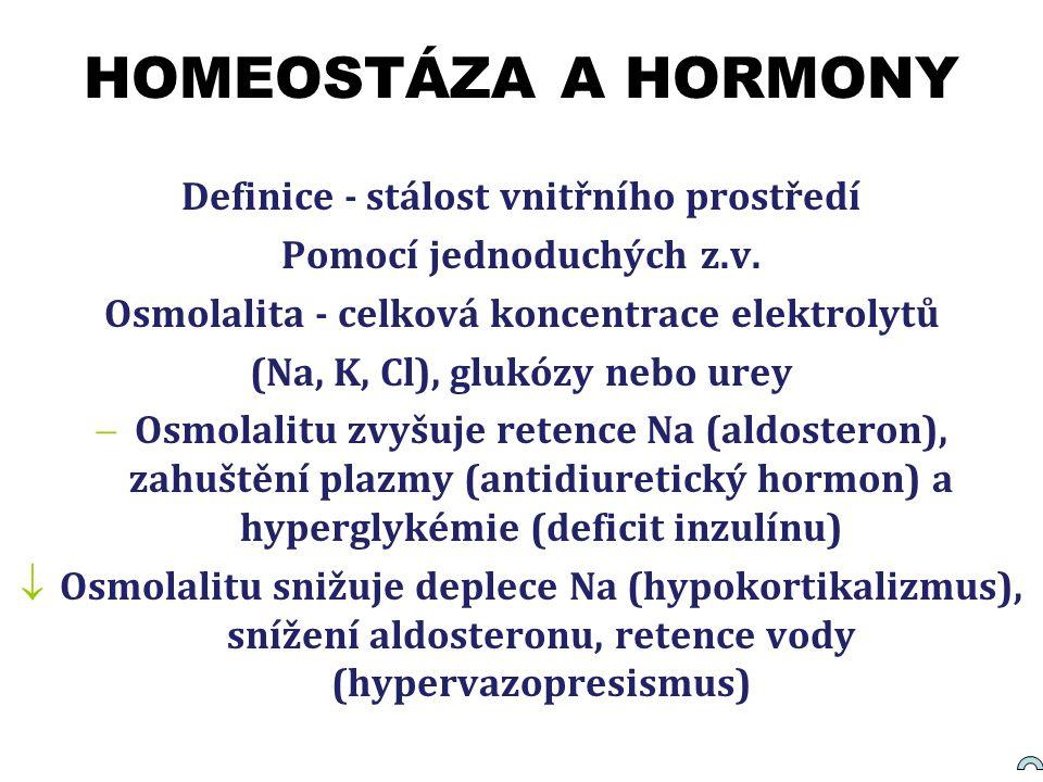 HOMEOSTÁZA A HORMONY Definice - stálost vnitřního prostředí