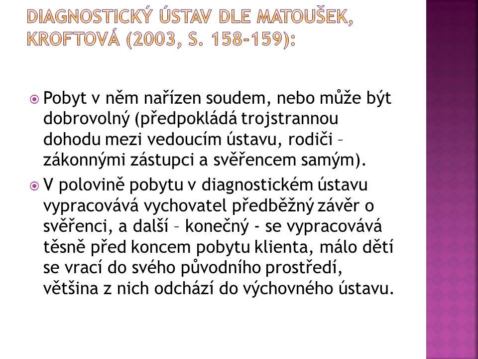 Diagnostický ústav dle Matoušek, Kroftová (2003, s. 158-159):