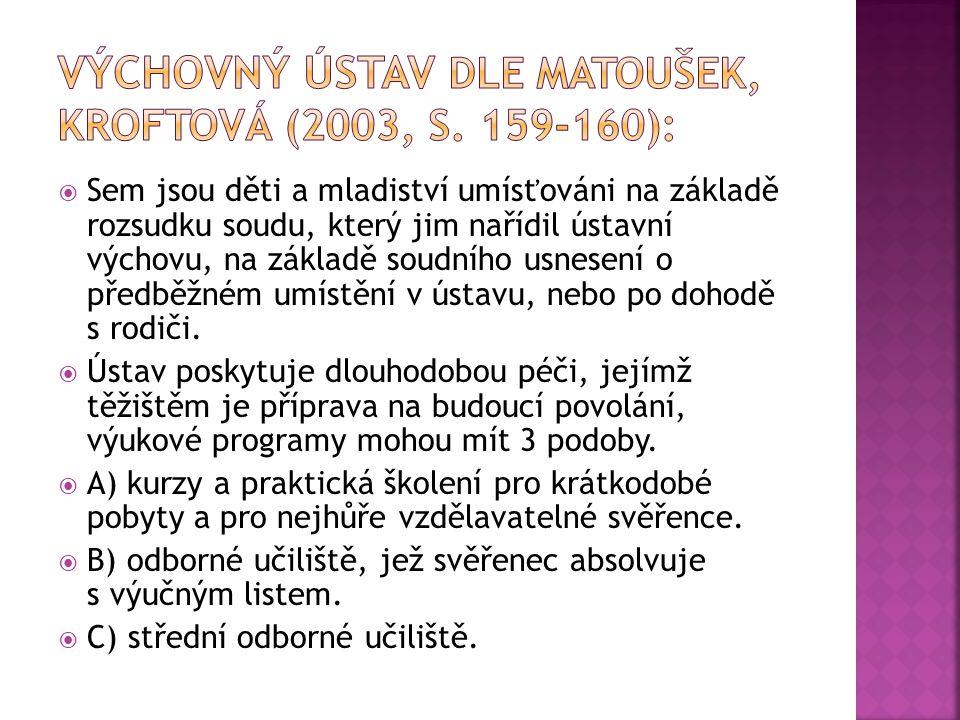 Výchovný ústav dle Matoušek, Kroftová (2003, s. 159-160):