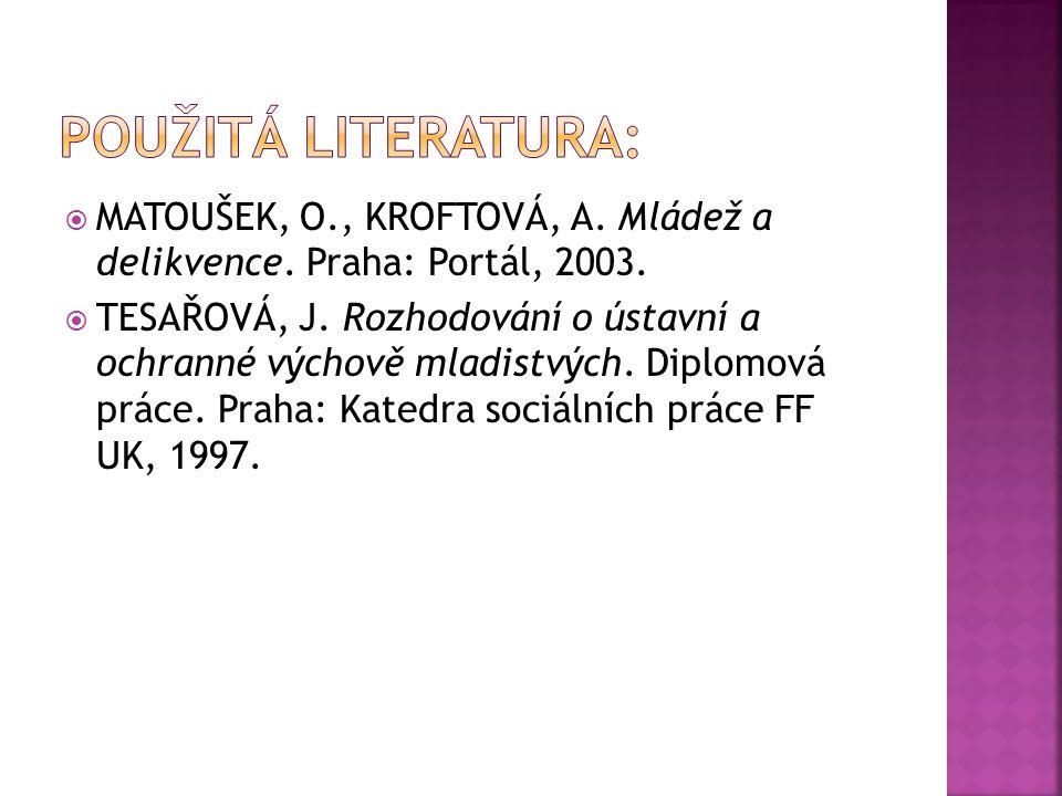 Použitá literatura: MATOUŠEK, O., KROFTOVÁ, A. Mládež a delikvence. Praha: Portál, 2003.